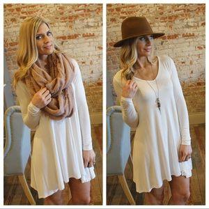 Ivory long sleeve tunic dress